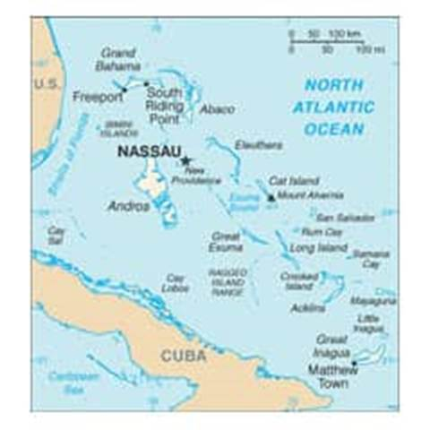 Map of Bahamas, The
