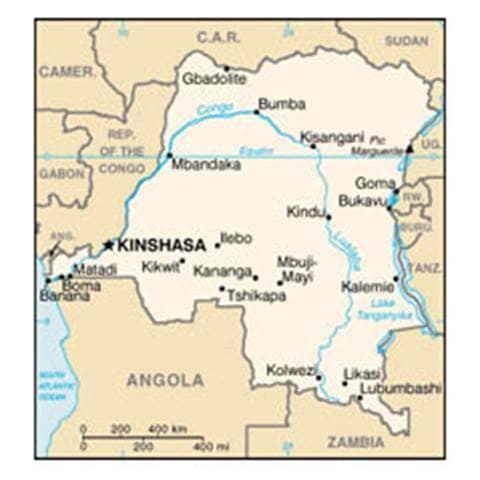 Map of Congo, Democratic Republic of the