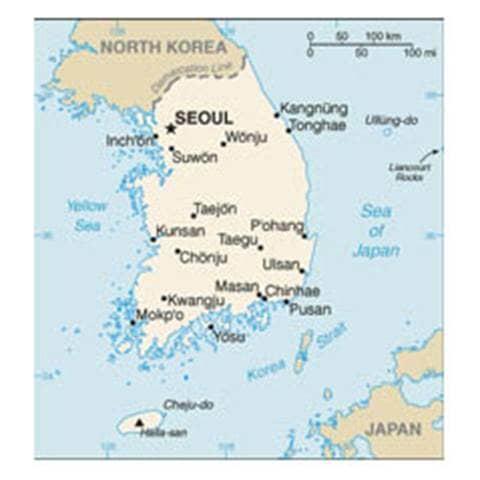 Map of Korea, South